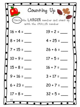 1st Grade Math Practice - Counting Up - FREEBIE