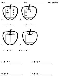 1st Grade Math Quick Check Packet