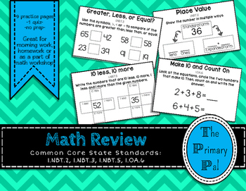 1st Grade Math Review: Numbers & Operations in Base 10, and addition (set 11)