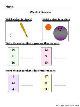 1st Grade Math - Review Sheets and Tests - 1st Semester