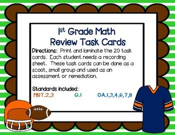 1st Grade Math Review Task Cards