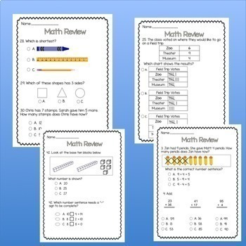 20 Pages! 1st Grade Math Review/Assessment! (CC aligned) Growing Bundle