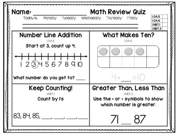 1st Grade Common Core Math Review: Set 2