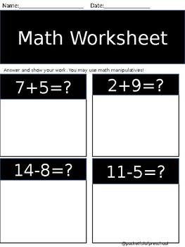 1st Grade Math Sheet