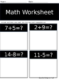 1st Grade Math Sheet