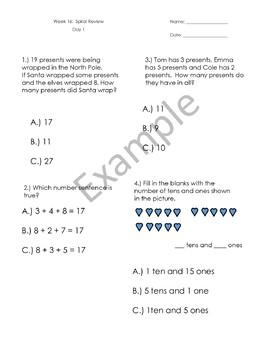 1st Grade Math Spiral Review - Weeks 13-16