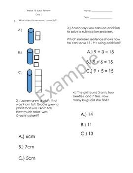 1st Grade Math Spiral Review - Weeks 17-20