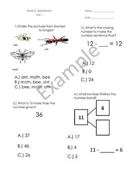1st Grade Math Spiral Review - Weeks 21-24