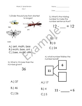 1st Grade Math Spiral Review - Weeks 21-24
