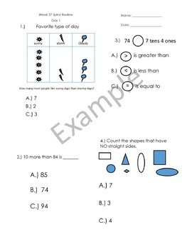 1st Grade Math Spiral Review - Weeks 25-28