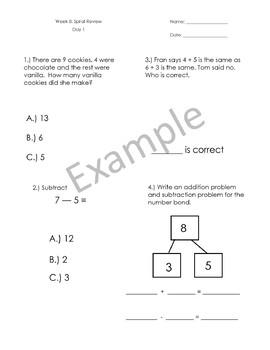 1st Grade Math Spiral Review - Weeks 5-8