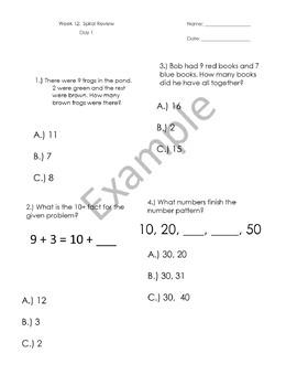 1st Grade Math Spiral Reviews - Weeks 9-12