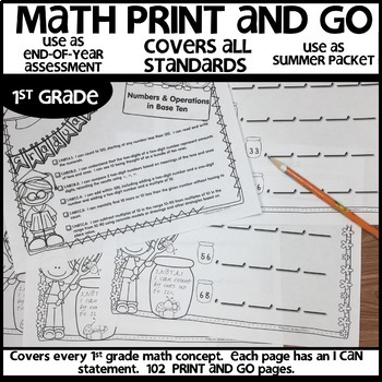 Math Worksheets 1st Grade End of Year Summer Packet | Independent Work Packets