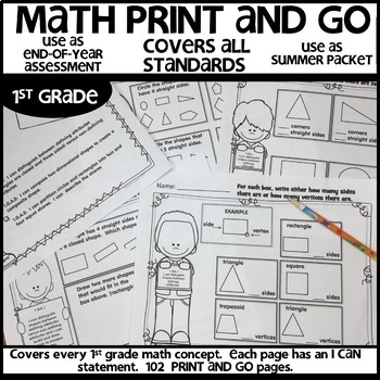 Math Worksheets 1st Grade End of Year Summer Packet  Printable Distance Learning