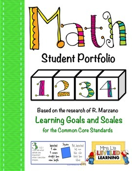 1st Grade Math Student Portfolio Pages with Marzano Scales