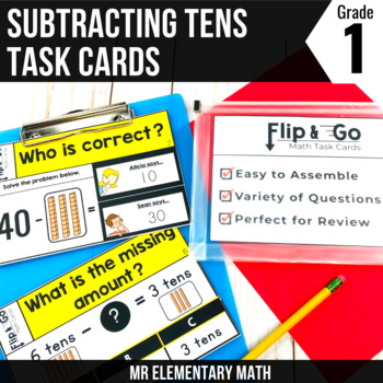 Subtracting Tens - 1st Grade Math Flip and Go Cards