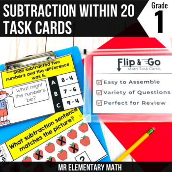 Subtraction within 20 - 1st Grade Math Flip and Go Cards