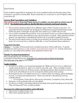 1st G Math Summer Work Resources & Packet