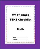 "1st Grade Math TEKS Checklist ""New Texas Math Standards"""