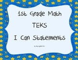 1st Grade Math TEKS I Can Statements