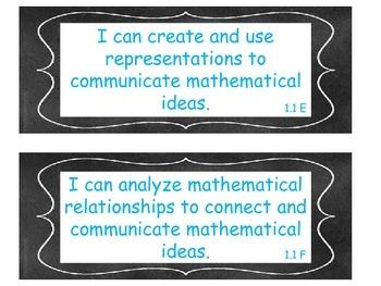 1st Grade Math TEKS I Can Statements Chalkboard Theme