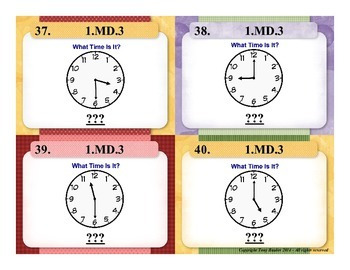 1st Grade Math Task Cards 1 MD.3 Tell and Write time in hours and half-hours.