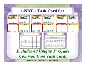 1st Grade Math Task Cards 1 NBT.1 Extend The Counting Sequ