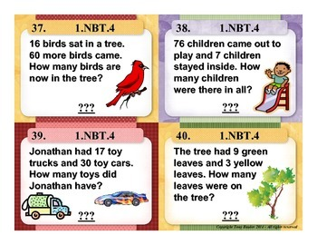 1st Grade Math Task Cards 1 NBT.4 Add Within 100 Word Problems 1.NBT.4
