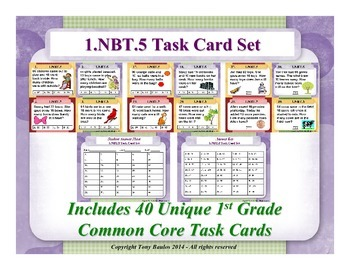 1st Grade Math Task Cards 1 NBT.5 Mentally Find 10 More or