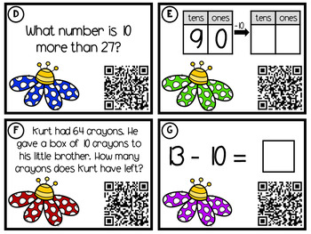1st Grade Math Task Cards: 10 More, 10 Less (with QR Codes)