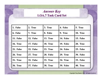 1st Grade Math Task Cards - Determine If Equations Are True Or False 1.OA.7