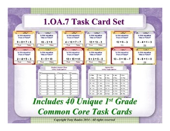 1st Grade Math Task Cards - Determine If Equations Are Tru