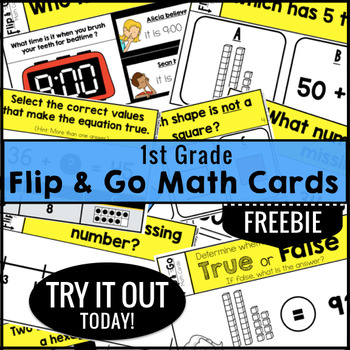 1st Grade Math Task Cards FREEBIE