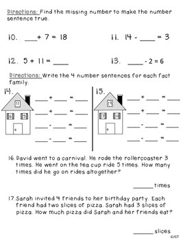 1st Grade Math Test Operations and Algebraic Thinking