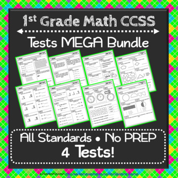 1st Grade Math Tests: 1st Grade Common Core Math Test MEGA Bundle