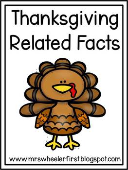 1st Grade Math: Thanksgiving Related Facts Sort