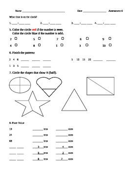 1st Grade Math - Time, Odd & Even, Fractions (1/2), Patterns, Place Value