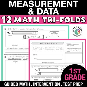 1st Grade Math Tri-Folds - Measuring Length, Time, and Data Tables