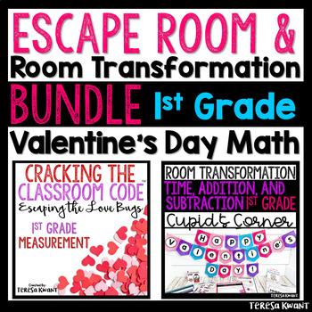 1st Grade Math Valentine's Day Room Transformation and Escape Room Bundle