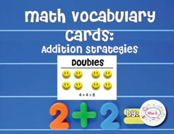 1st Grade Math Vocabulary Cards: Addition Concepts