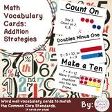1st Grade Math Vocabulary Cards: Addition Strategies