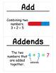 1st Grade Math Vocabulary Cards: Addition Strategies (Large)