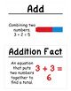 1st Grade Math Vocabulary Cards: Addition and Subtraction Relationships (Large)