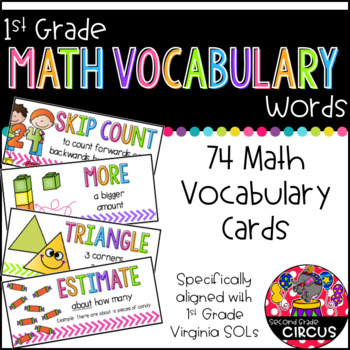 1st Grade Math Vocabulary Cards (Aligned with Virginia SOLs)