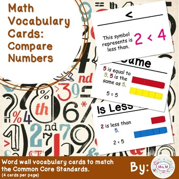 1st Grade Math Vocabulary Cards: Compare Numbers