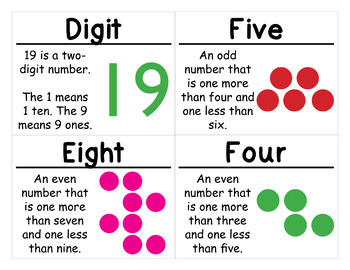 1st Grade Math Vocabulary Cards: Count and Model Numbers