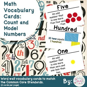 1st Grade Math Vocabulary Cards: Count and Model Numbers (Large)