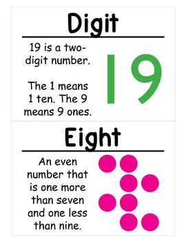 1st Grade Math Vocabulary Cards: Entire Year (Large)