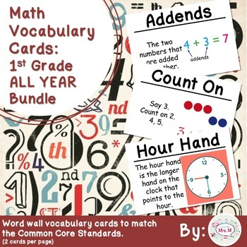 1st Grade Math Vocabulary Cards: All Year Bundle (Large)