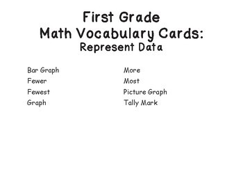 1st Grade Math Vocabulary Cards: Represent Data